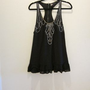 Free People black tunic silver/gold braid design.